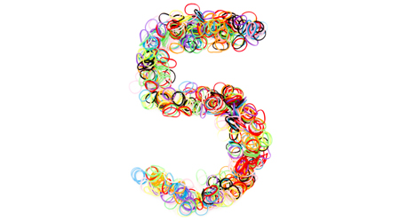 Colorful elastic rubber bands shape Number five