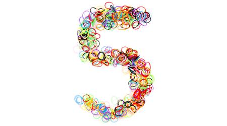 Colorful elastic rubber bands shape Number five